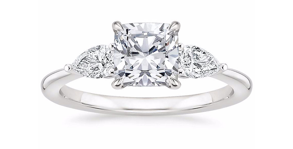 """LAYLA"" CUSHION DIAMOND THREE STONE ENGAGEMENT RING"