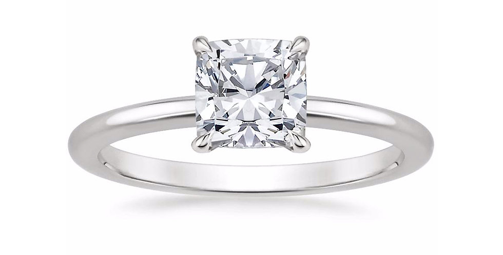 """LIA"" CUSHION DIAMOND SECRET HALO ENGAGEMENT RING"