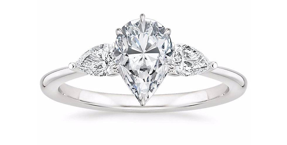 """LAYLA"" PEAR DIAMOND THREE STONE ENGAGEMENT RING"