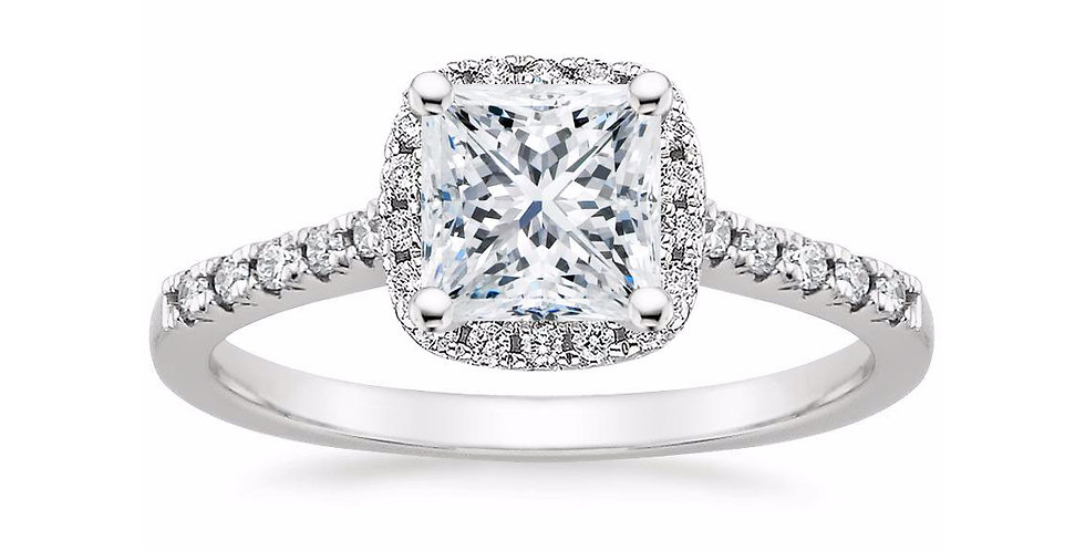 """""""LOU"""" PRINCESS DIAMOND HALO PAVÉ ENGAGEMENT RING"""