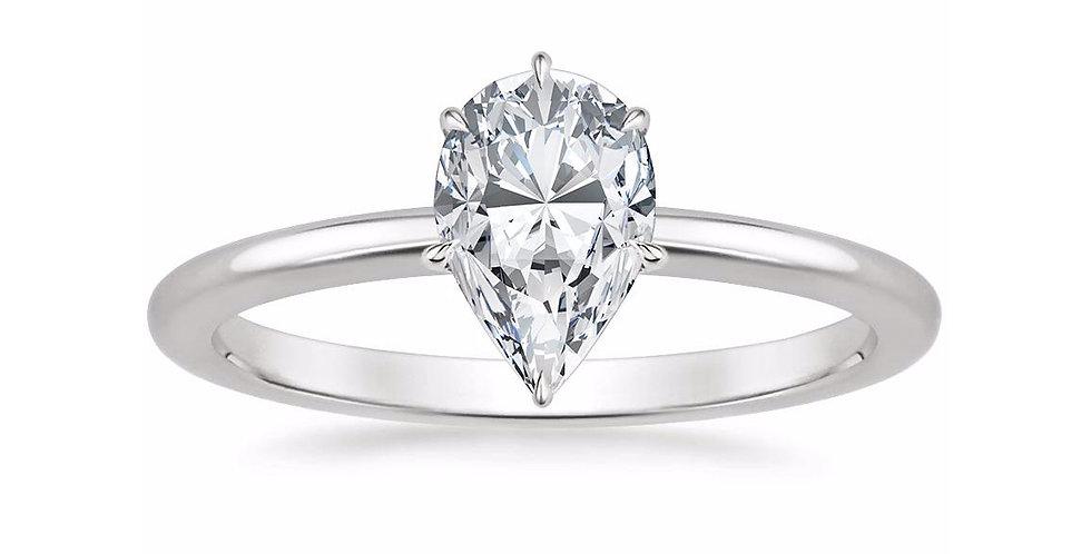 """LIA"" PEAR DIAMOND SECRET HALO ENGAGEMENT RING"