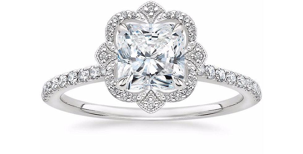 """""""LOTUS"""" RADIANT DIAMOND HALO PAVÉ ENGAGEMENT RING"""
