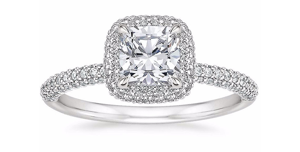 """LION"" CUSHION DIAMOND DOUBLE HALO ENGAGEMENT RING"