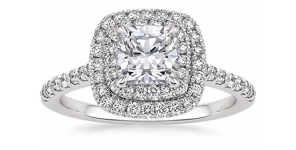 """""""LOUISE"""" CUSHION DIAMOND DOUBLE HALO ENGAGEMENT RING"""
