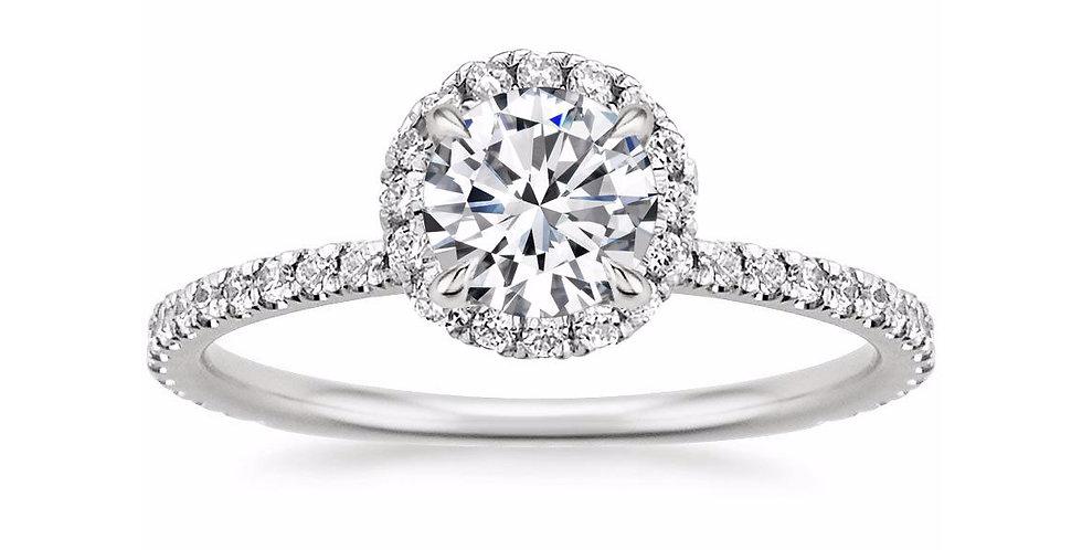 ROUND DIAMOND HALO PAVÉ ENGAGEMENT RING