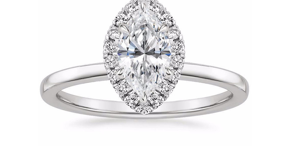 """""""LIZZIE"""" MARQUISE DIAMOND HALO ENGAGEMENT RING"""