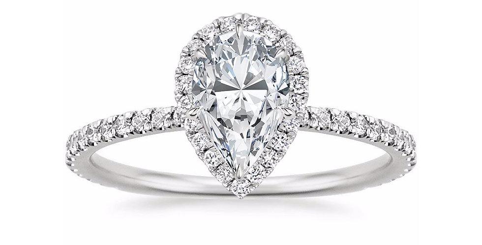PEAR DIAMOND HALO PAVÉ ENGAGEMENT RING