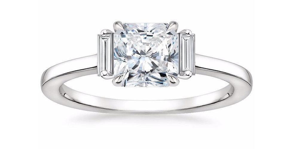 """LILAH"" RADIANT DIAMOND THREE STONE ENGAGEMENT RING"