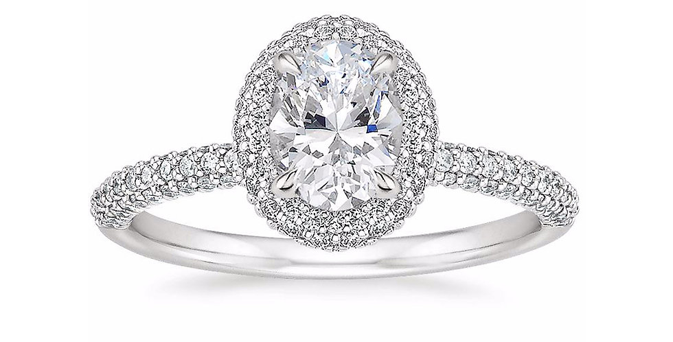"""LION"" OVAL DIAMOND DOUBLE HALO ENGAGEMENT RING"