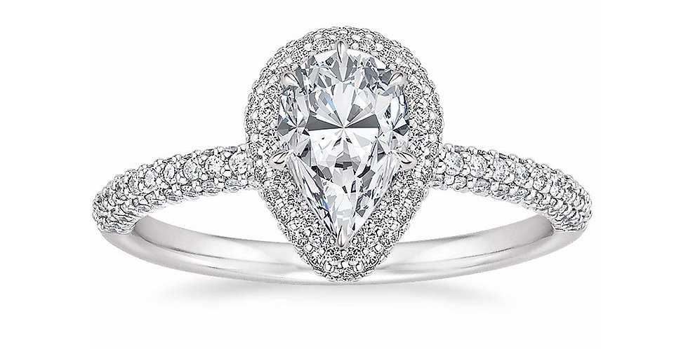 """LION"" PEAR DIAMOND DOUBLE HALO ENGAGEMENT RING"