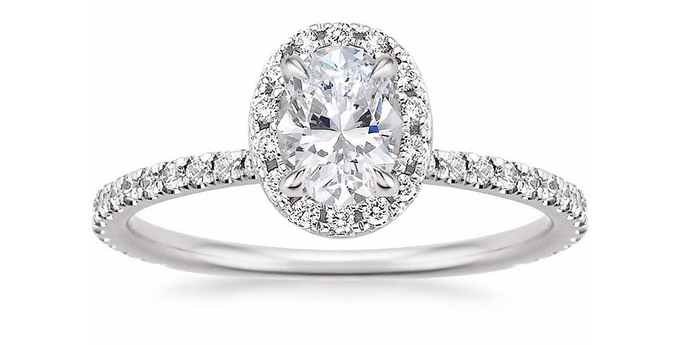OVAL DIAMOND HALO PAVÉ ENGAGEMENT RING