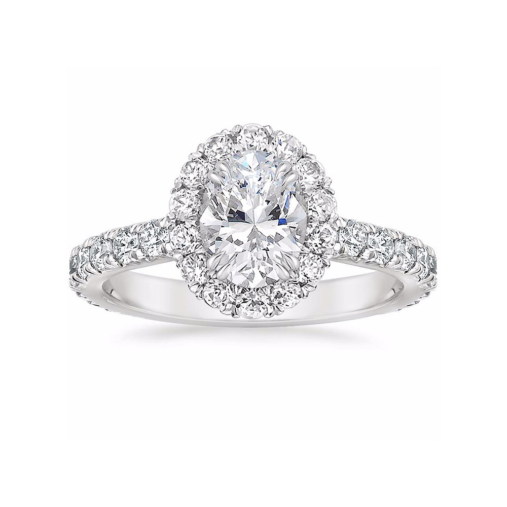 oval diamond Seamless Halo Engagement Ring