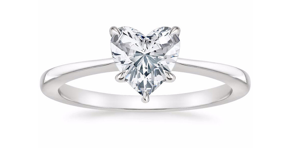 """LEAH"" HEART DIAMOND TAPERED ENGAGEMENT RING"