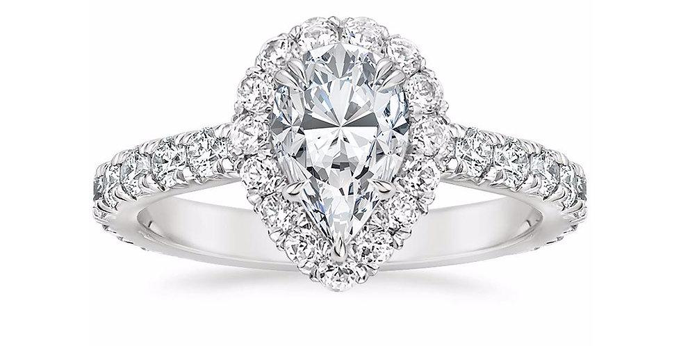"""LOUISA"" PEAR DIAMOND HALO ENGAGEMENT RING"