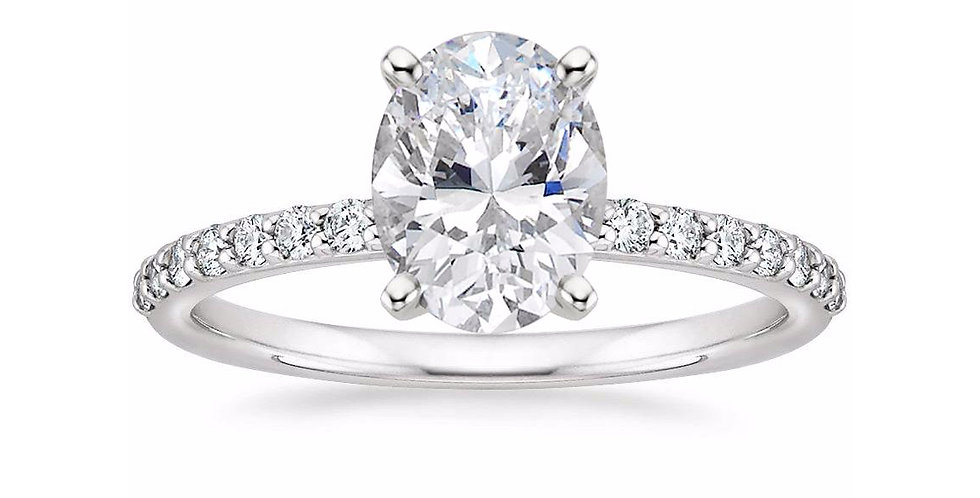OVAL DIAMOND PAVÉ BAND SOLITAIRE ENGAGEMENT RING