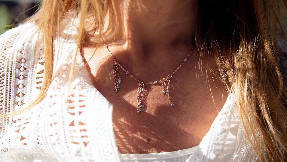 Custom design diamond necklace in rose gold