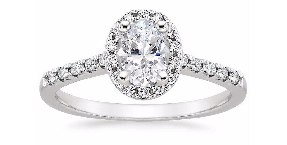 """LOU"" OVAL DIAMOND HALO PAVÉ ENGAGEMENT RING"