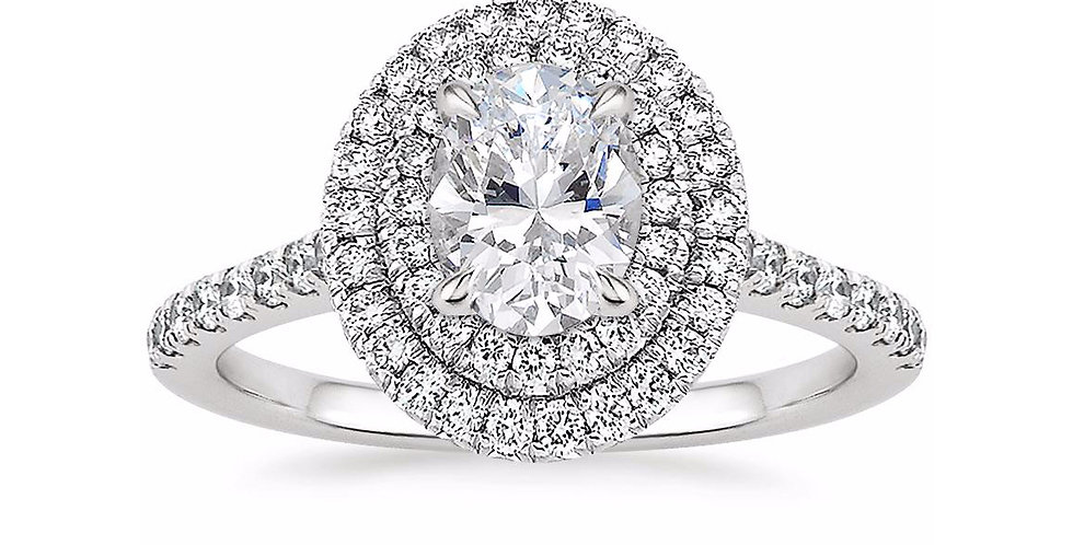 """LOUISE"" OVAL DIAMOND DOUBLE HALO ENGAGEMENT RING"