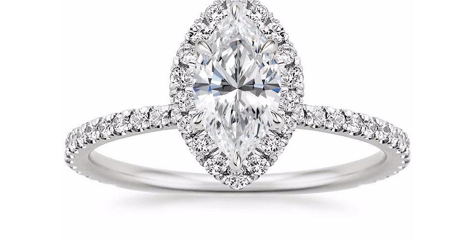 MARQUISE DIAMOND HALO PAVÉ ENGAGEMENT RING