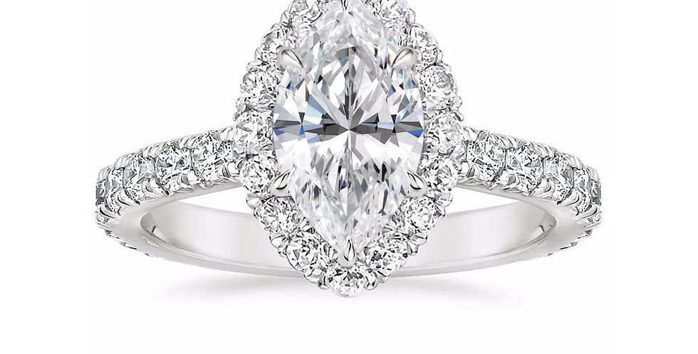 """LOUISA"" MARQUISE DIAMOND HALO ENGAGEMENT RING"