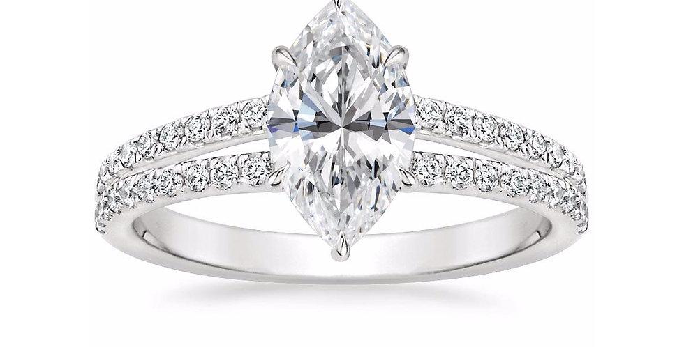 """LUISA"" MARQUISE DIAMOND SPLIT SHANK ENGAGEMENT RING"