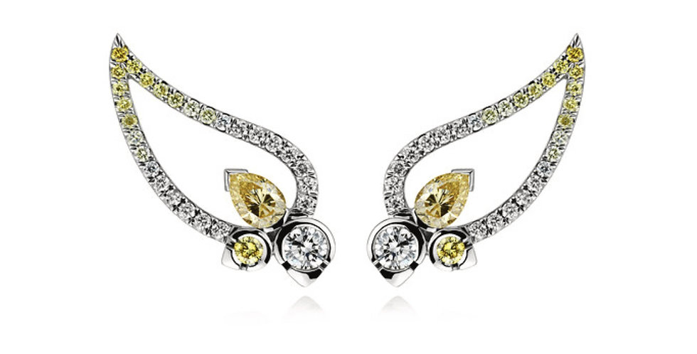 """STELLAR"" WHITE AND YELLOW DIAMOND EAR CRAWLER EARRINGS"