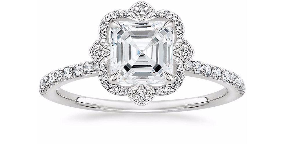 """""""LOTUS"""" ASSCHER DIAMOND HALO PAVÉ ENGAGEMENT RING"""