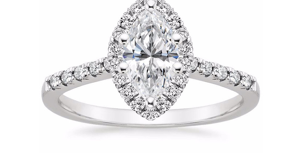 """LOU"" MARQUISE DIAMOND HALO PAVÉ ENGAGEMENT RING"