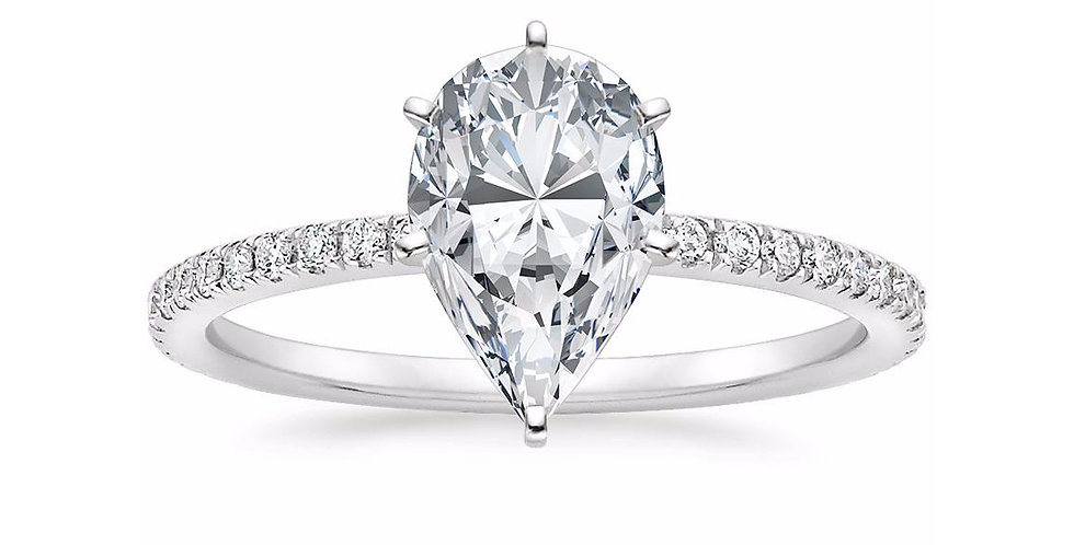 """LILY"" PEAR DIAMOND PAVÉ BAND SOLITAIRE ENGAGEMENT RING"