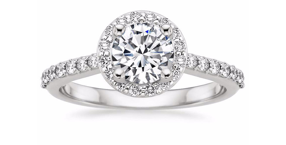 ROUND DIAMOND HALO ENGAGEMENT RING WITH SIDE STONES