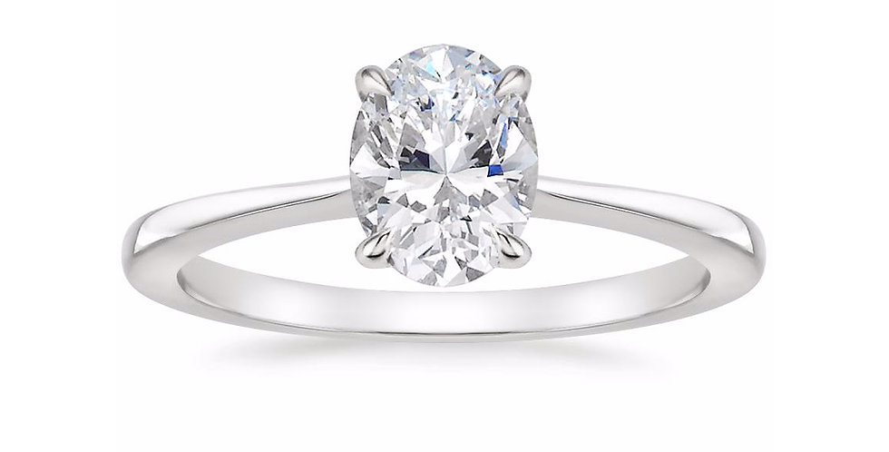 """LEAH"" OVAL DIAMOND TAPERED ENGAGEMENT RING"