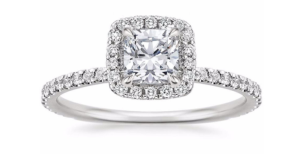 CUSHION DIAMOND HALO PAVÉ ENGAGEMENT RING