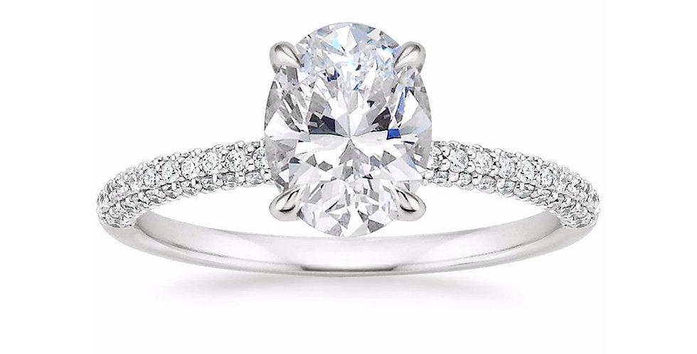 """""""LARA"""" OVAL DIAMOND MICRO-PAVÉ SOLITAIRE ENGAGEMENT RING"""