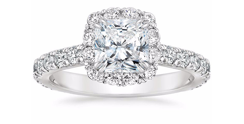 """LOUISA"" RADIANT DIAMOND HALO ENGAGEMENT RING"