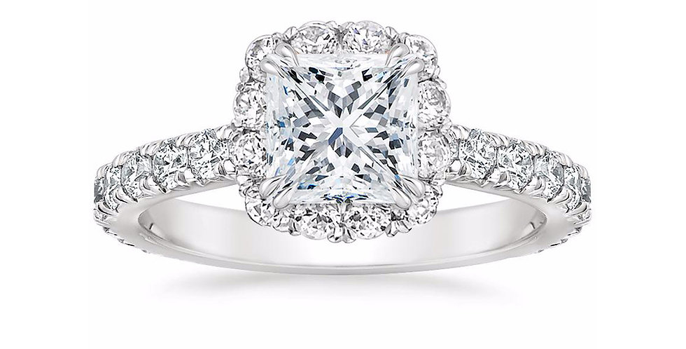 """LOUISA"" PRINCESS DIAMOND HALO ENGAGEMENT RING"