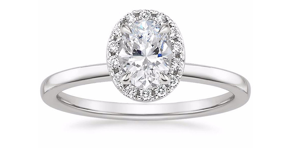 """""""LIZZIE"""" OVAL DIAMOND HALO ENGAGEMENT RING"""