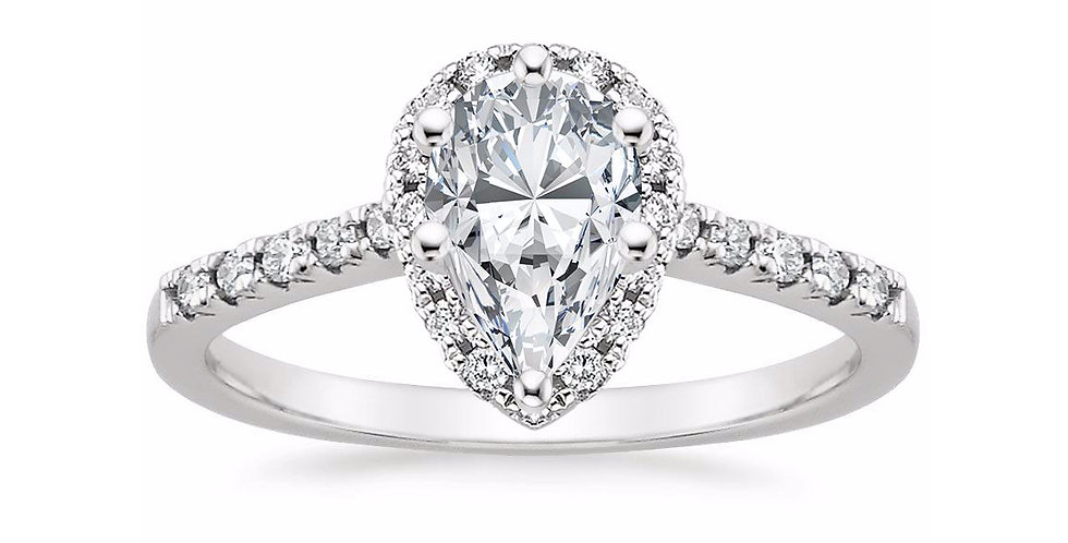 """LOU"" PEAR DIAMOND HALO PAVÉ ENGAGEMENT RING"