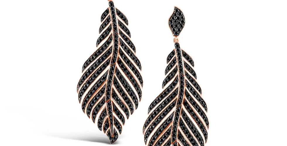 BLACK DIAMOND FEATHER EARRINGS