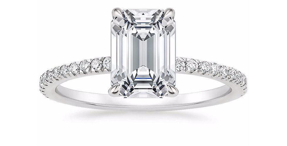 """LOLA"" EMERALD DIAMOND PAVÉ SOLITAIRE ENGAGEMENT RING"