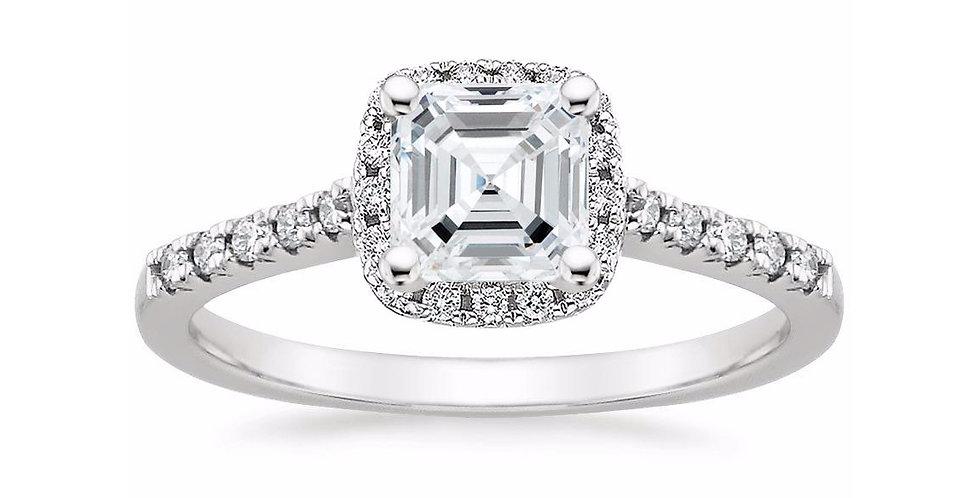"""""""LOU"""" ASSCHER DIAMOND HALO PAVÉ ENGAGEMENT RING"""