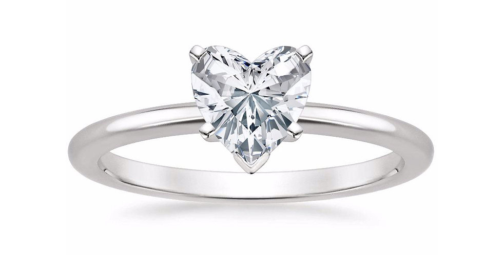 HEART DIAMOND FIVE-PRONG SOLITAIRE ENGAGEMENT RING