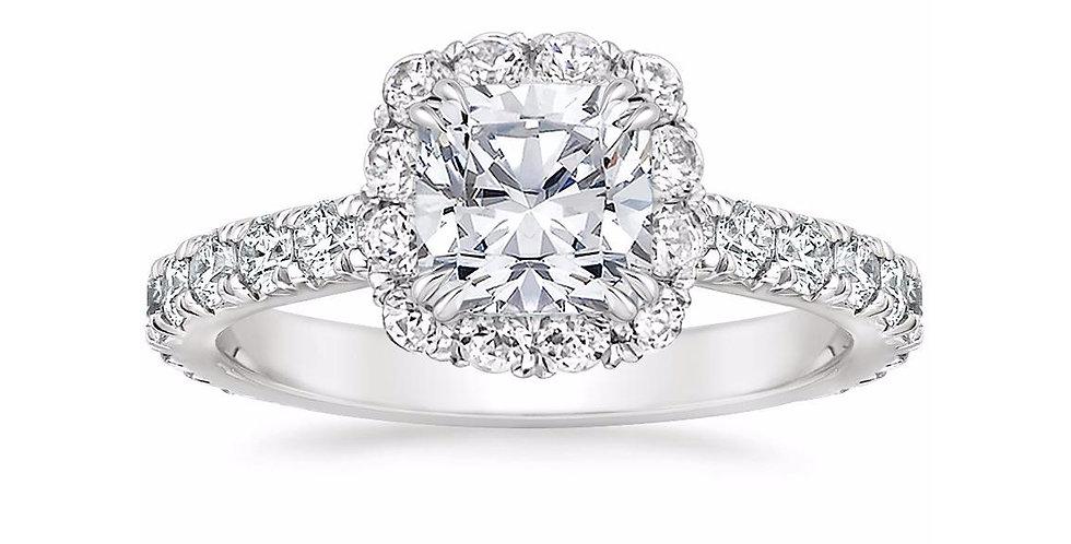 """LOUISA"" CUSHION DIAMOND HALO ENGAGEMENT RING"