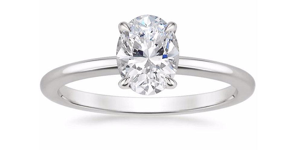 """LIA"" OVAL DIAMOND SECRET HALO ENGAGEMENT RING"