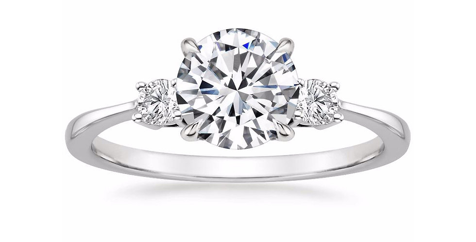 """LIZA"" ROUND DIAMOND THREE STONE ENGAGEMENT RING"