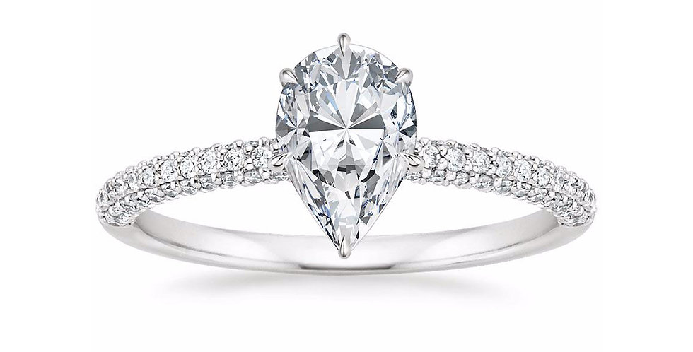 """LARA"" PEAR DIAMOND MICRO-PAVÉ SOLITAIRE ENGAGEMENT RING"