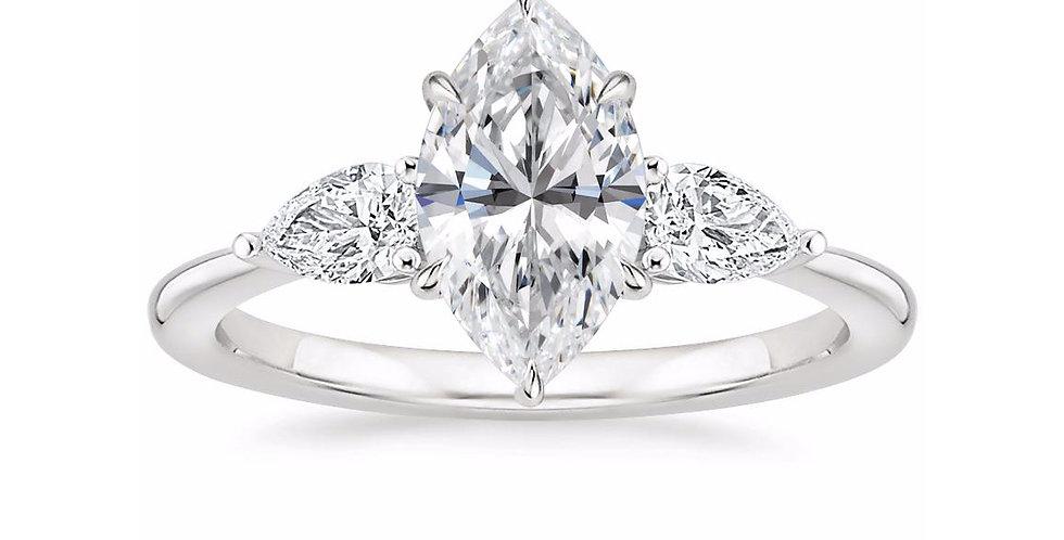 """LAYLA"" MARQUISE DIAMOND THREE STONE ENGAGEMENT RING"