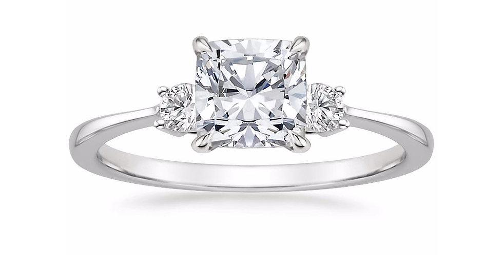 """LIZA"" CUSHION DIAMOND THREE STONE ENGAGEMENT RING"
