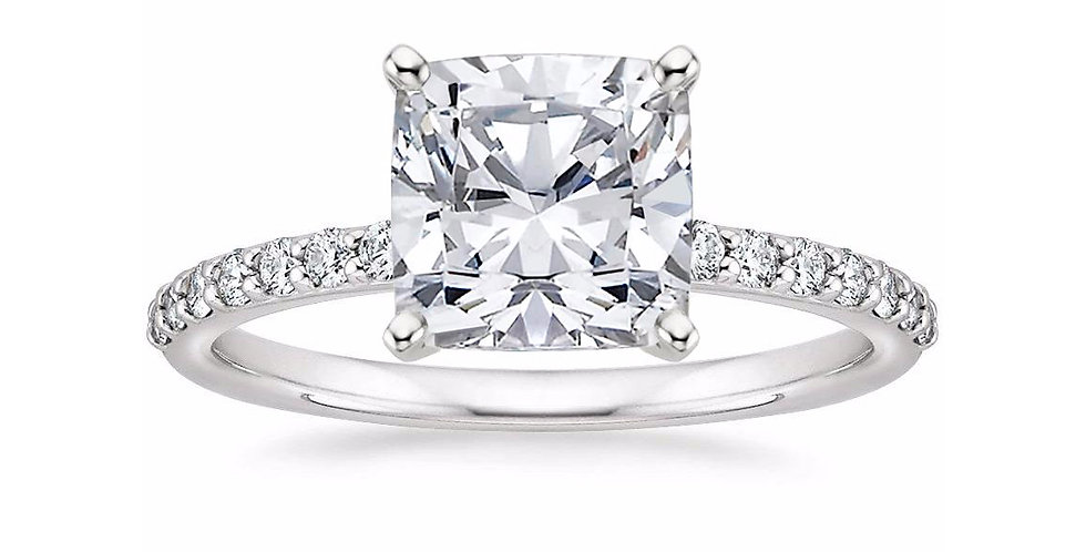 CUSHION DIAMOND PAVÉ BAND SOLITAIRE ENGAGEMENT RING