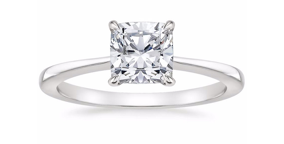 """LEAH"" CUSHION DIAMOND TAPERED ENGAGEMENT RING"