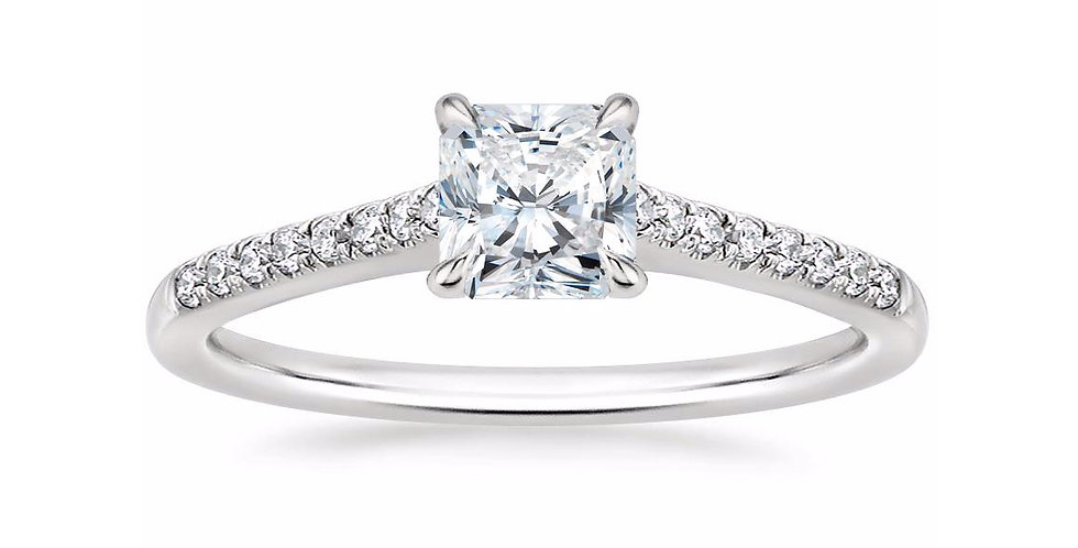 """LUCY"" RADIANT DIAMOND CATHEDRAL SOLITAIRE ENGAGEMENT RING"